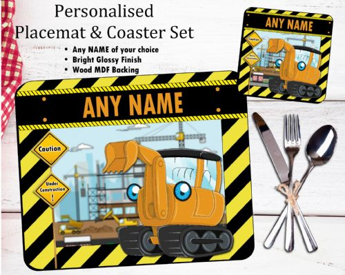 Personalised Kids Table Placemat & Coaster Set N36 - Digger Design